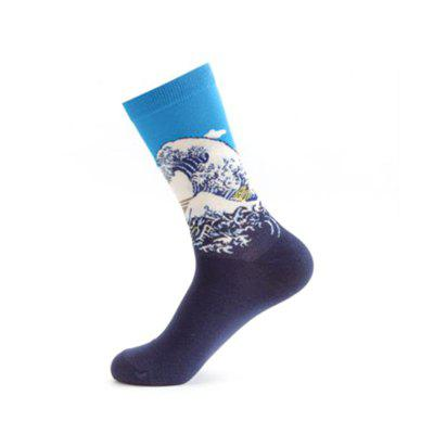 Happy Socks Men Funny Art Dress Sock Color Lot Men Summer Fashion  Print Van Gogh Art Socks