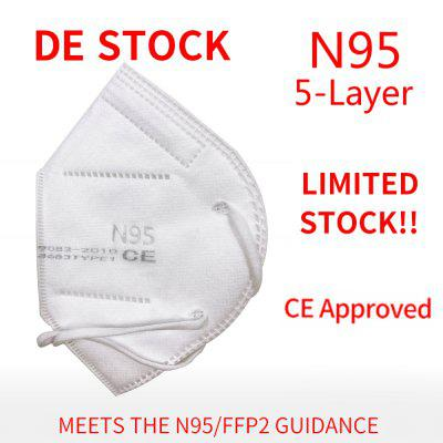 One Package with 10Pcs N95 5-Layer Face Mask Double BFE 99 Melt-Blown CE Approved Non-Medical