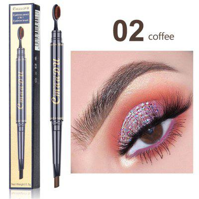 Double eyebrow pencil with toothbrush head brush multi-function waterproof lasting eyebrow makeup