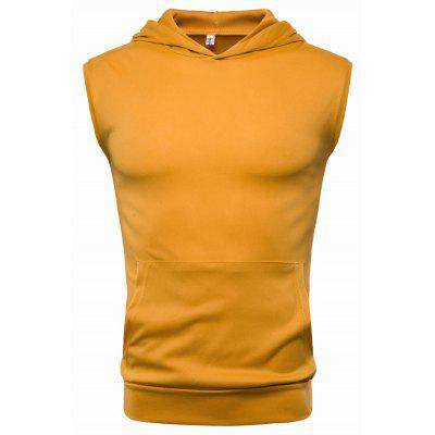 YOONHEEL RBX01 Mens Solid Color Hooded Sports Sleeveless T-Shirt
