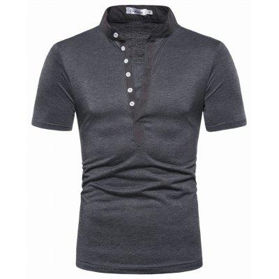 YOONHEEL TX003 Mens Slim Solid Color Button Small V-neck T-Shirt