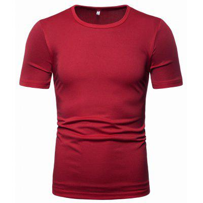 YOONHEEL T01 Mens Round Neck Solid Color Short-sleeved Casual T-shirt