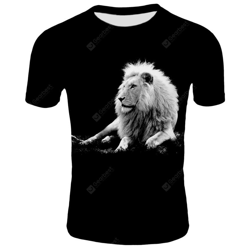 YOONHEEL T-Shirt Mens 3D Digital Print Lion Short Sleeve SZ0232 - S SZ0246 China