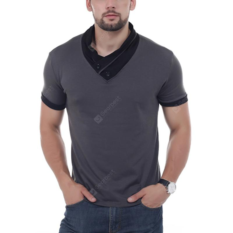 YOONHEEL T-shirts Mens Fashion Short Sleeve With Stacked Collars Tees For Men DD03 - l Iron Gray China