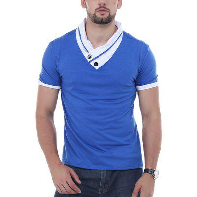 YOONHEEL  T-shirts Mens Fashion Short Sleeve With Stacked Collars Tees For Men DD03
