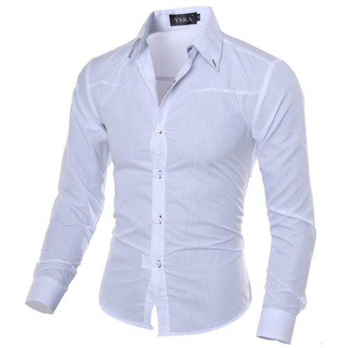 Hajotrawa Men Plus Size Comfortably Lapel Neck Printed Button Down Shirts