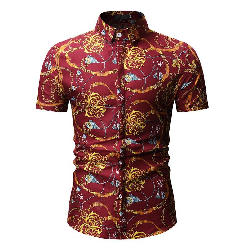 YOONHEEL Short-sleeved Shirt Summer Mens Casual Short-sleeved Printed Shirt Collection 26 Colors - YS72RED XXXL China