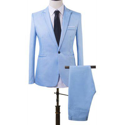 YOONHEEL Suits Mens Daily Work Business Basic Summer Regular solid Colored Suits Long Sleeve