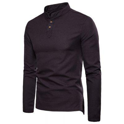 Cotton and linen long-sleeved shirt Mens solid color casual button stand collar Plus size shirt M101
