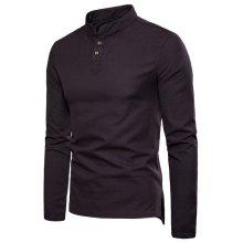 027edc86 Cotton and linen long-sleeved shirt Mens solid color casual button stand  collar Plus size