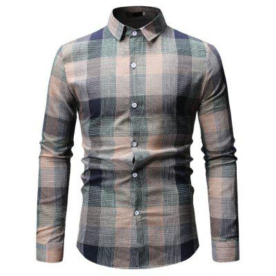 Shirt Summer Mens Casual Plaid Long Sleeve Shirt ML53
