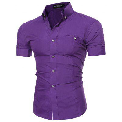 Shirt Mens Gold Buckle Decorative Casual Solid Color Short Sleeve Shirt