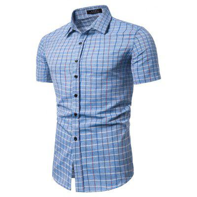 Plaid Short-sleeved Shirt Mens Summer Casual Fashion Shirt