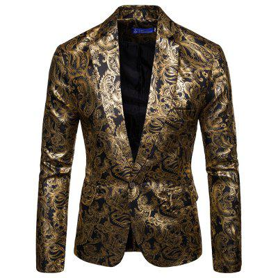 YOONHEEL Mens Blazers Glossy Hot Stamping Suits Groomsmen Dresses