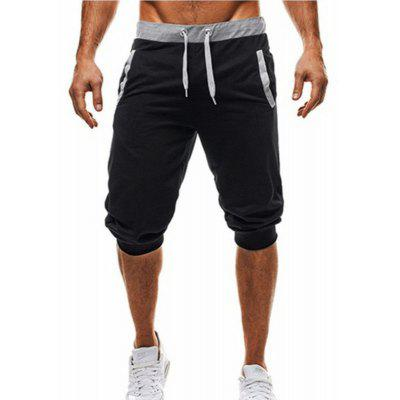 YOONHEE Casual Pants Mens Solid Color Cropped Trousers Sweatpants K33