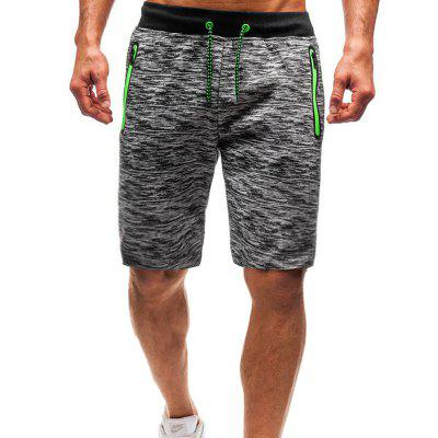 YOONHEEL Summer Shorts Zip Pocket Knit Sports Mens Shorts