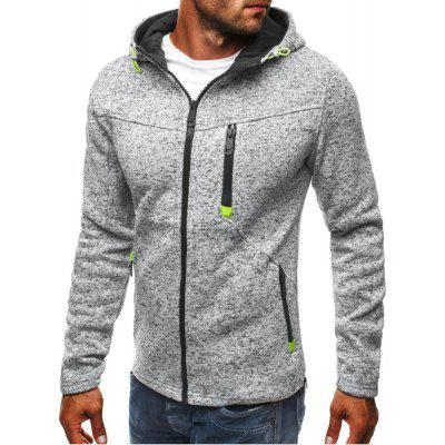 YOONHEEL Mens Sports and Leisure Jacquard Sweatshirts Fleece Cardigan Hooded Jacket W178