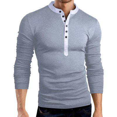 YOONHEEL Mens Long Sleeve T-Shirt Splicing Solid Color Autumn Winter Casual Long Sleeve T-Shirt T33