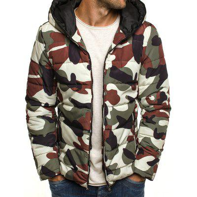 YOONHEEL Mens Fashion Camouflage Zipper Hooded Padded Jacket 7574