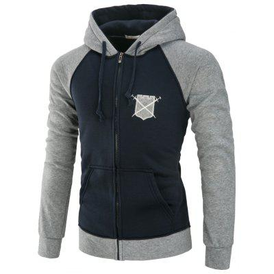 YOONHEEL Mens  Hoodies Slim Stitching Print Zipper Hooded Jacket Y106