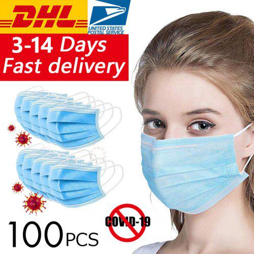 DHL100pcs Surgical Medical Face Masks Anti Virus Disposable 3 layer Anti-bacteria Meltblown Earloops