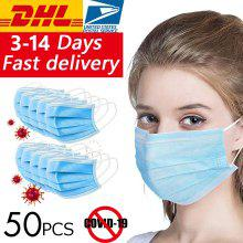 DHL 50pcs Surgical Medical Face Masks Anti Virus Disposable 3 layer Anti-bacteria Meltblown Earloops