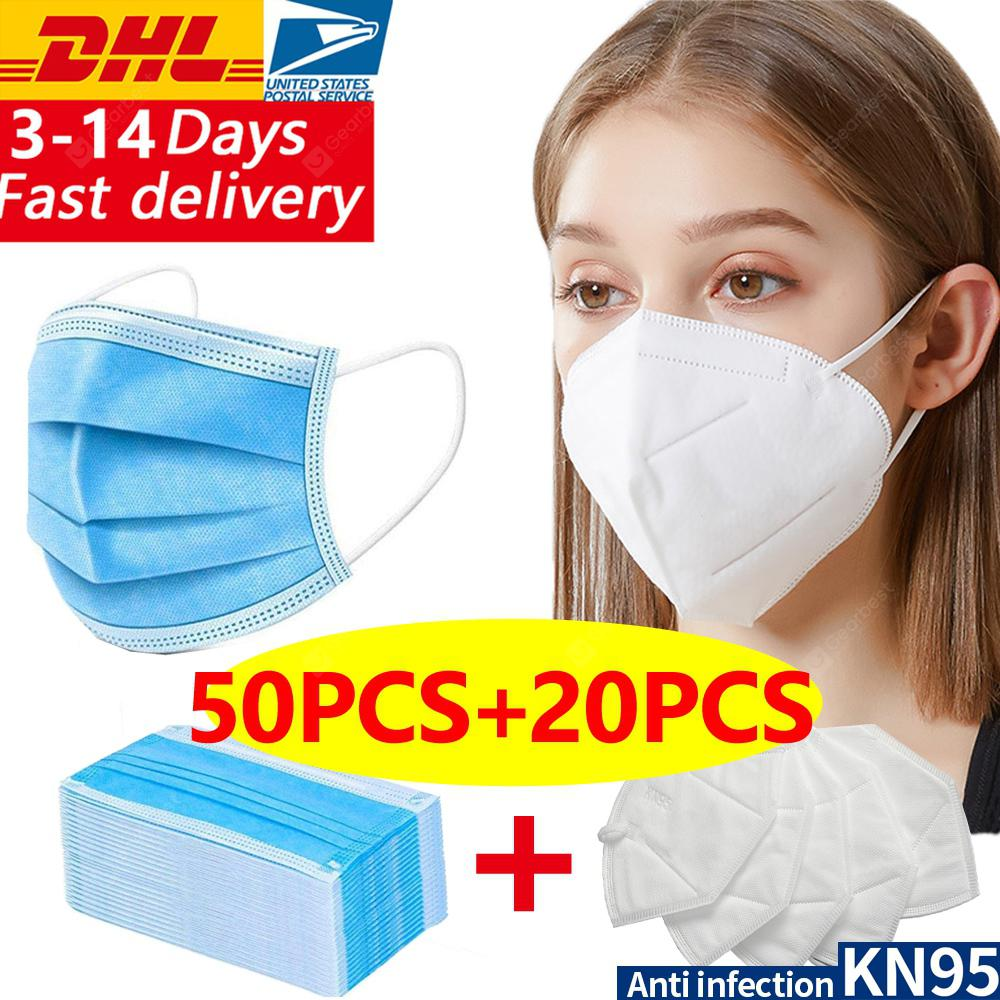 DHL 50pcs-20pcs N95 KN95 Disposable Face Masks 4layer Non-medical Anti-pollution Protection FASTSHIP