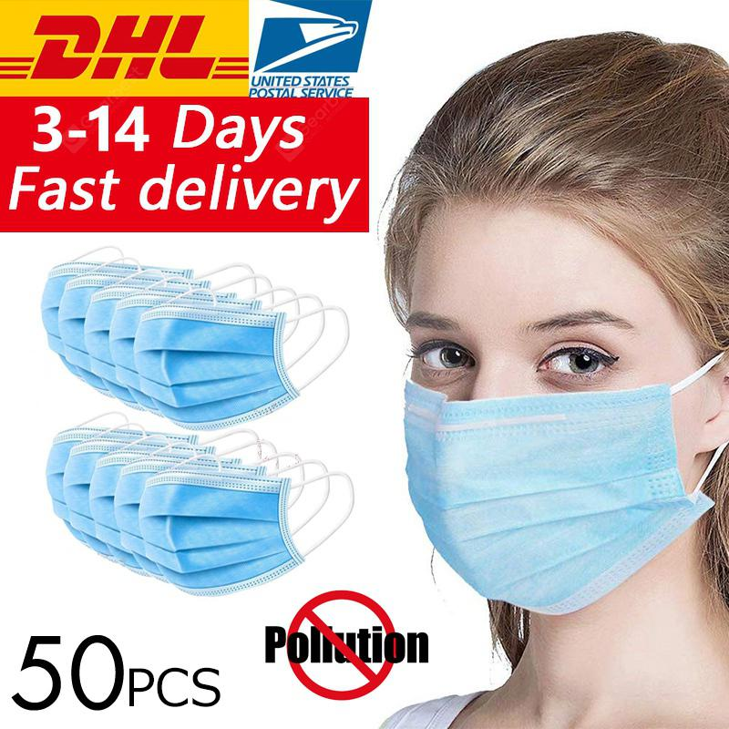 50PCS 3 Laye Dust Mask Protection Masks Disposable Face Masks Elastic Earloops Anti virus Gas Mask Filter   8%commissions - 21.84€