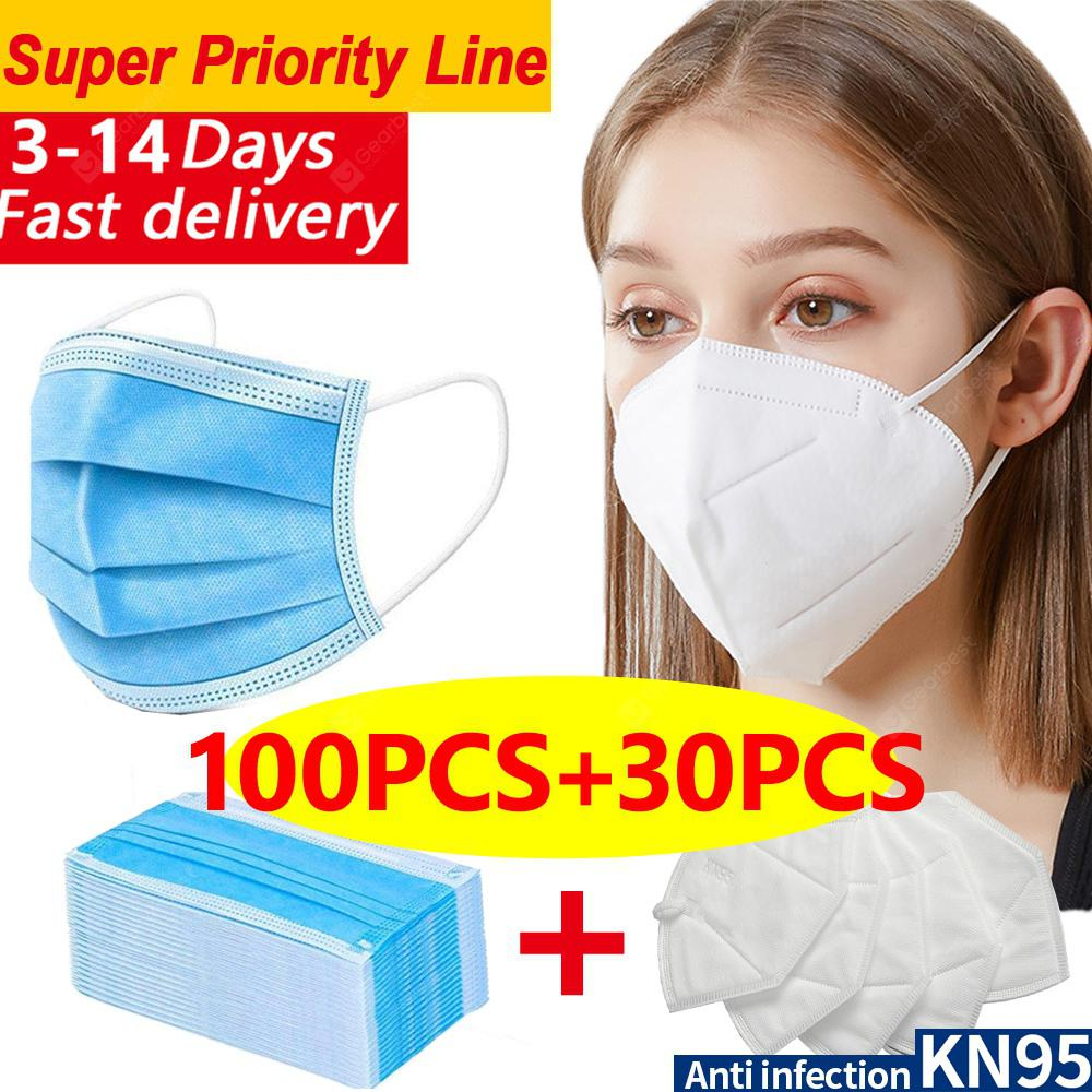 DHL 100pcs-30pcs N95 KN95 Disposable Non-medical Face Masks 4-layer Anti-pollution Protection FAST