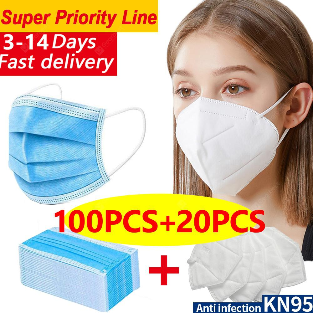 DHL 100pcs-20pcs N95 KN95 Disposable Non-medical Face Masks 4-layer Anti-pollution Protection FAST