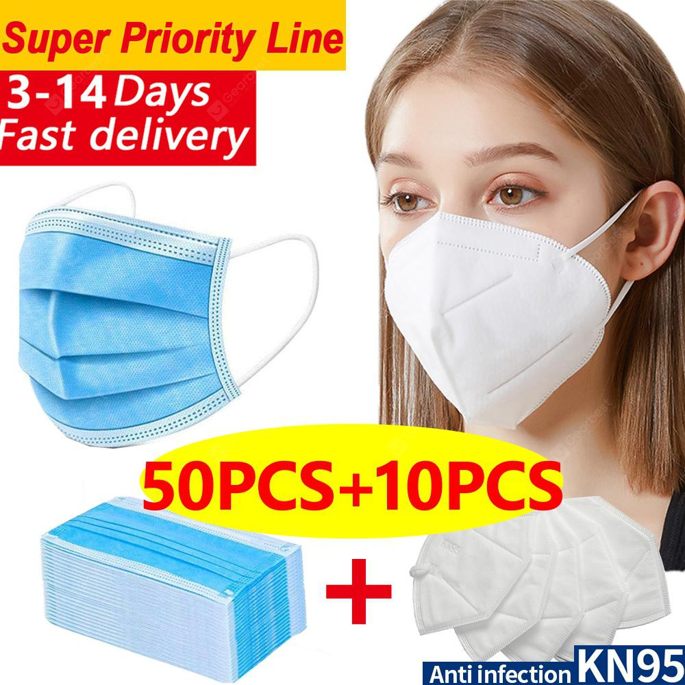 DHL 50pcs-10pcs N95 KN95 Disposable Face Masks 4layer Non-medical Anti-pollution Protection FASTSHIP