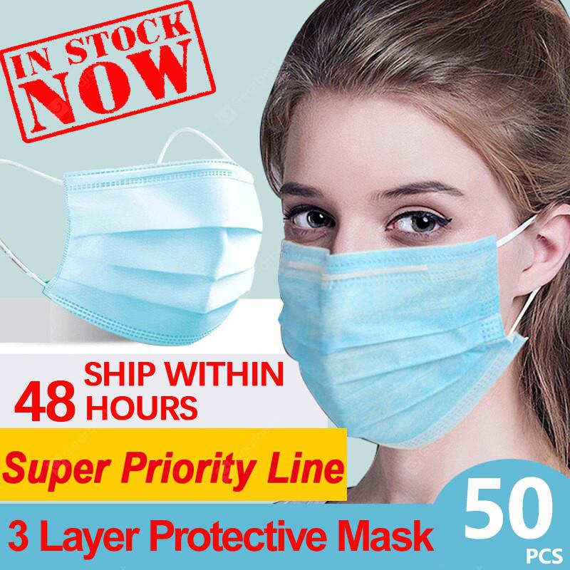 Fast Ship Anti-Pollution Face Masks Ordinary Nonmedical Disposable 3 Layer Meltblown Filter Earloops