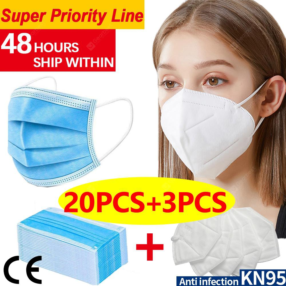 DHL 20pcs-3pcs N95 KN95 Disposable Face Masks 4-layer meltblown Anti-pollution Protection FAST SHIP