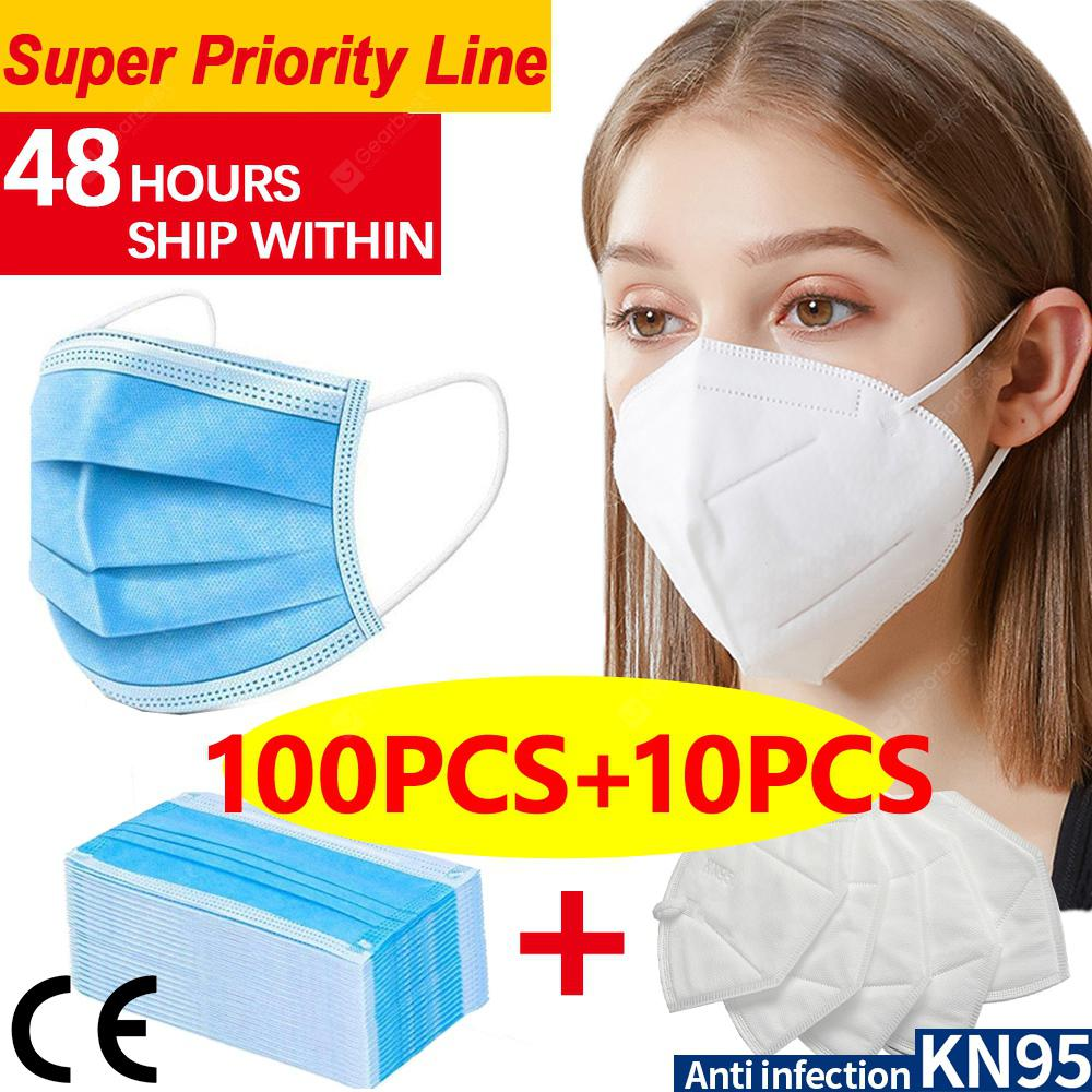 DHL 100pcs-10pcS N95 KN95 Disposable Face Mask 4layer Non-medical Anti-pollution Protection FASTSHIP