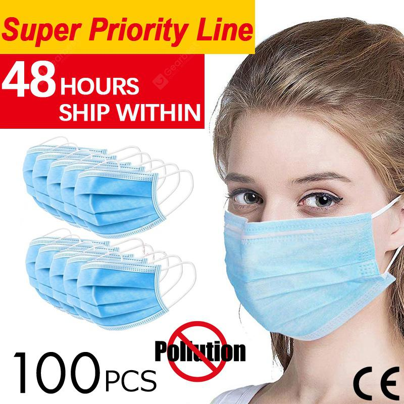 DHL 100pcs Anti-Pollution Face Masks Ordinary Nonmedical Disposable 3 Layer Meltblown Filter Earloop