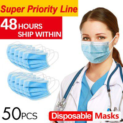 50pcs Anti-Pollution Face Masks Ordinary Nonmedical Disposable Earloops 3 Layer Meltblown Filter
