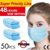 50pcs Anti-Pollution Face Masks Ordinary Nonmedical Disposable 3 Layer Meltblown Filter Earloops
