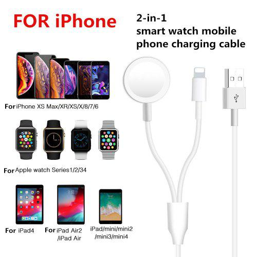 Mobile Phone smart watch 2 in 1 wireless charging cable for iPhone IWatch Iphone Xr Iphone cable Usb – White 104792861328702982