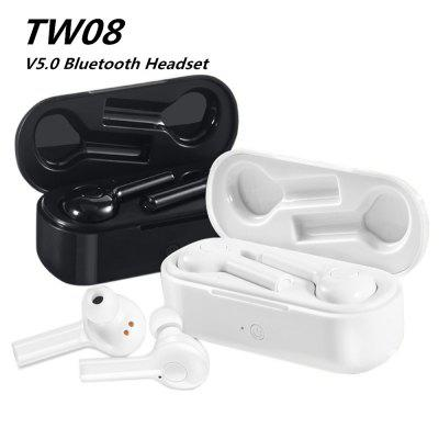 TW08 Bluetooth Headset Mini Dual V5.0 Wireless Headset 3D Stereo with Dual Microphone