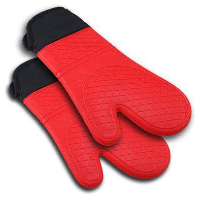 2 pieces of red silicone kitchen oven glove  with extra long canvas sleeves for barbecue