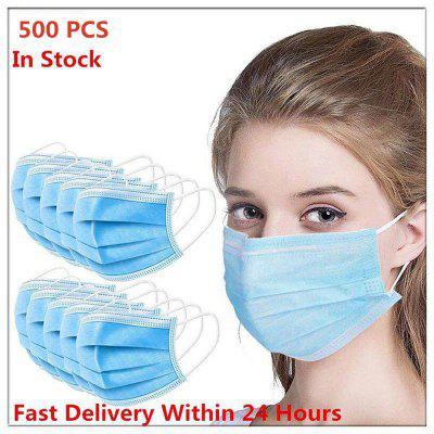 LQY 500 PCS Mask Non-Woven Fabric 3-Layer Dust-Proof Disposable Mask Safe And Breathable Non-medical