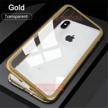 Κατάλληλο για IPhone X Magnetic Protective Shell Adsorption Shock Toughened Glass Protective Shell Anti-peeping