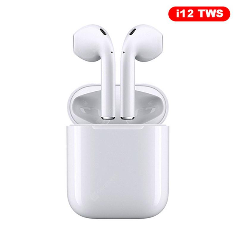 Mini i12 TWS Bluetooth Earphone Sports True Wireless Earbuds Touch Earphones Magnetic Charging Box - White