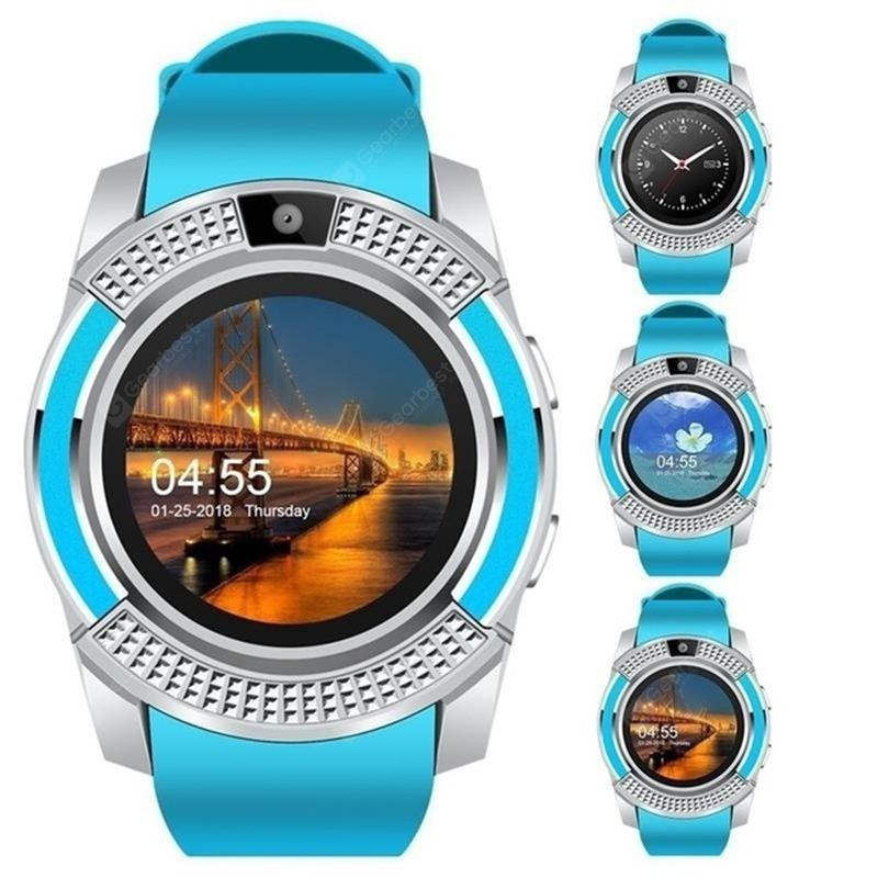 Gearbest GONOKER V8 SmartWatch Bluetooth Touch Screen Wrist Watch with Camera SIM Card Slot - Blue China
