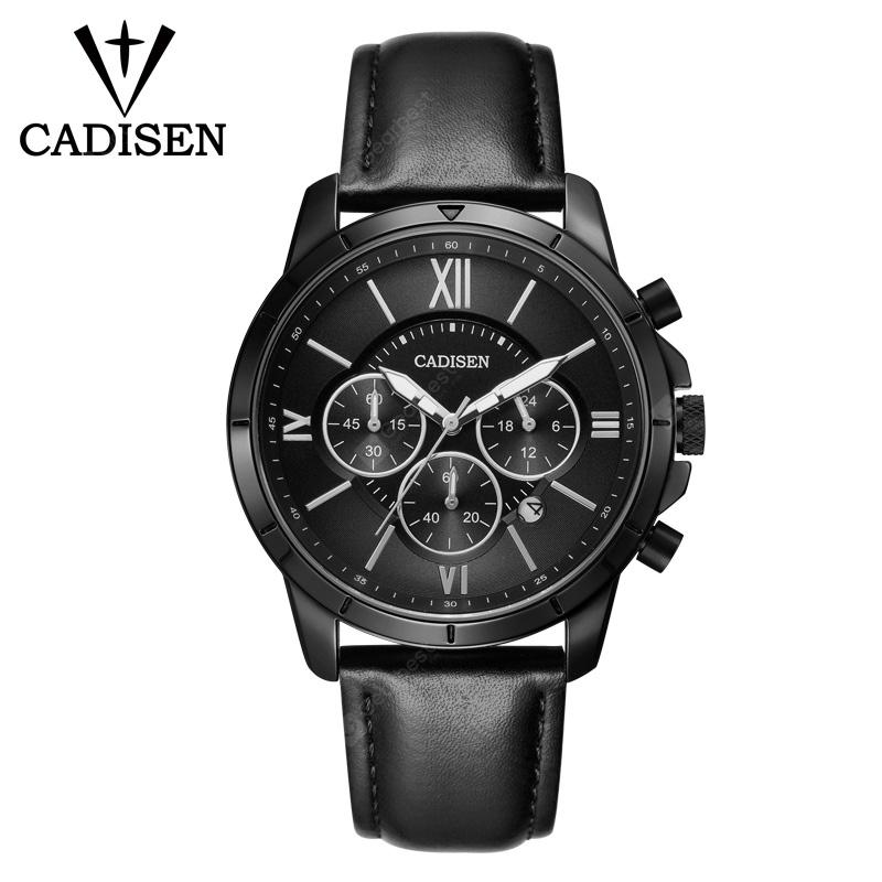 CADISEN Hot Fashion Sport Men Watches Quartz Watch Men Leather Waterproof Military Wristwatch - Black leather strap China