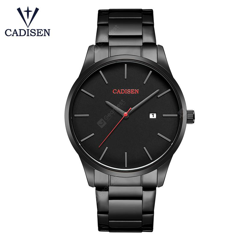 CADISEN Watch Men Top Luxury Brand Analog sports Wristwatch Display Date Business Quartz Watches - Stainless Steel Black Strap China