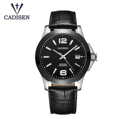 CADISEN Uhren Classic Mens Automatic Mechanical Watch Schwarzes Leder Man Black Ceramic Wristwatch