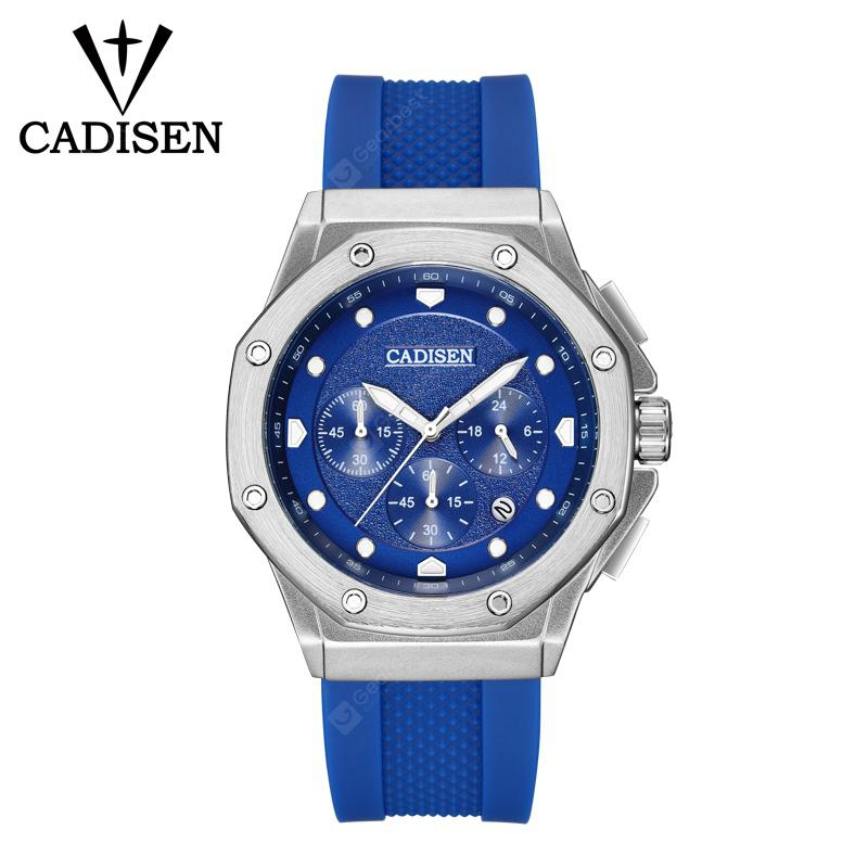 CADISEN Watch Men Sport Chronograph Silicone Strap Quartz Army Military Watches Mens Clock