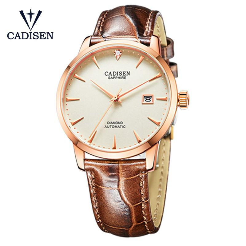 CADISEN Men Watch Hot Wrist Brand Luxury Famous Male Clock Automatic Watch Real diamonds Watch