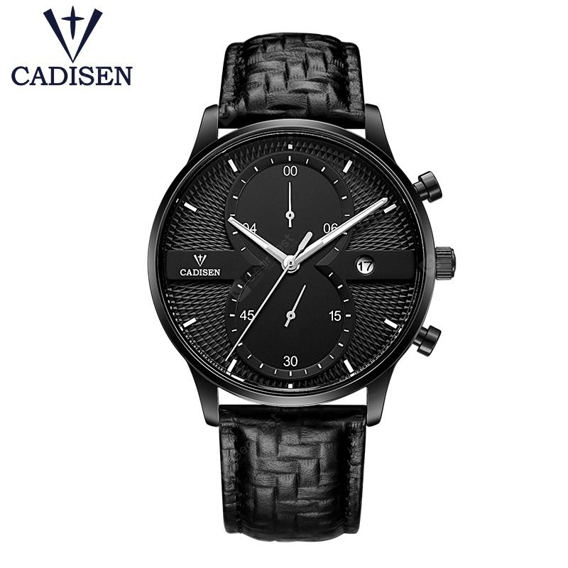 CADISEN Mens Watches Top Brand Luxury Fashion Business Quartz Watch Men Sport Leather Waterproof - All black China
